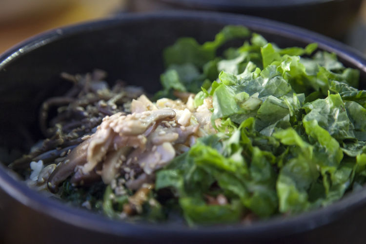 Close-up of meat and salad in bowl