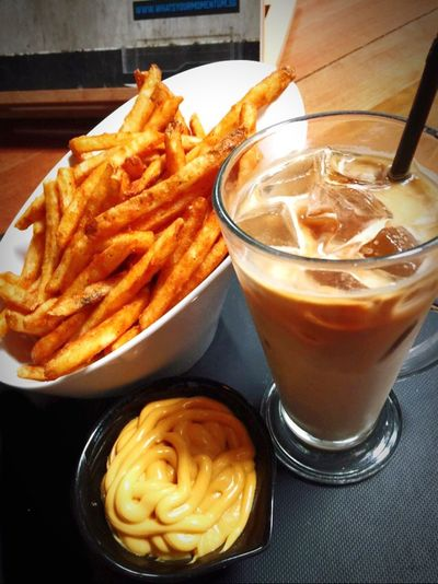 Cheese Fries and a nice glass of latte Drinking A Latte Cheese Fries Relaxing Coffee Cafe Hopping Cafesg IPhoneography
