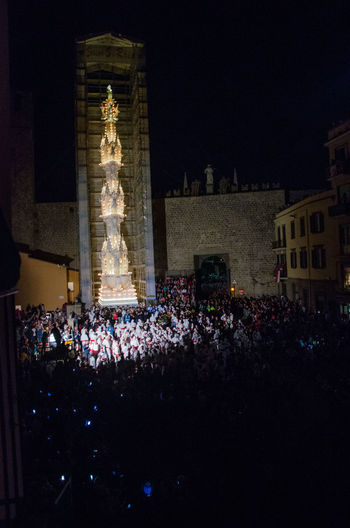 Italia Tradition Viterbo Built Structure Illuminated Italy Light In The Darkness Macchina Santa Rosa Night Palio Santarosa