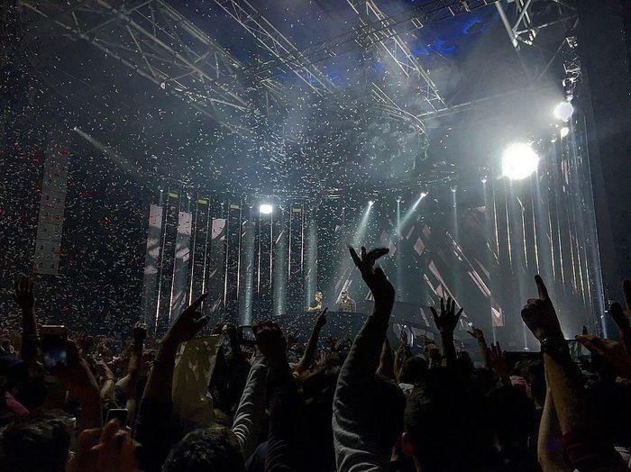 Beats Performance Enjoyment Group Of People Night Crowd Nightlife Popular Music Concert Illuminated Music Event Audience Arms Raised
