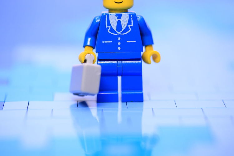 Blue Job No People Toy Indoors  Still Life Close-up Human Representation Selective Focus Figurine  Male Likeness Blue Background Plastic Working Working Hard Case Suitcase My Best Photo