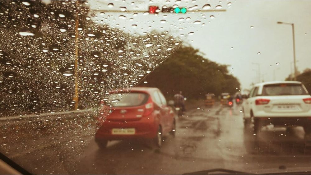 MeinAutomoment Morning Sky Morning Car Drive Long Drive Rain After Rai Wet Wet Glass Of Window :) On The Way