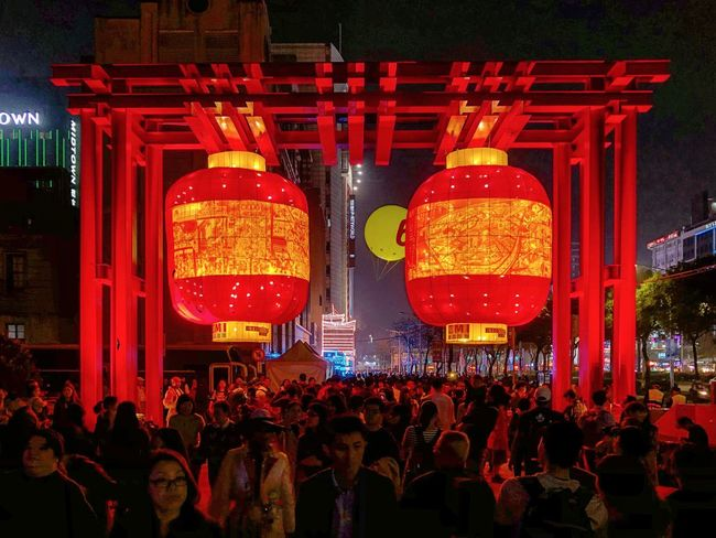 Let's color the town red Nightphotography Nightphoto Streetphotography Lanterns Lantern Festival Art Large Group Of People Night Illuminated Crowd Red Building Exterior Outdoors City Architecture People