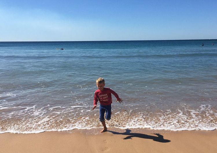 Summer is a state of mind! barefoot Playing Running Innocence Laughing Australia Sea Beach Land Water Sky Horizon Horizon Over Water Childhood Child Sand Leisure Activity