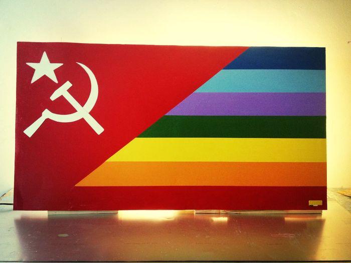 Bandiera Ex Unione Sovietica - Pace: lastra in alluminio e telaio in legno di Abete. 139 Cm X 0,74Cm kg 4 circa. Euro 290,00 + spese di spedizione Handmade Italy Robert I