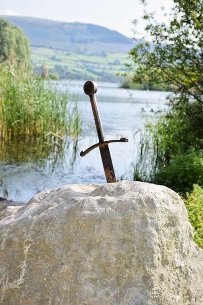 Sword In The Stone Llangorse Lake Lake Non-urban Scene Riverbank Tranquil Scene Taking Photos Mountain