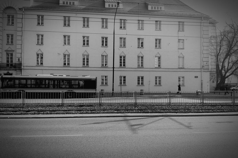 City City Bus On The Road Street View Streets Of Warsaw Architecture Blackandwhite Monochromatic Streetphotography Monochrome