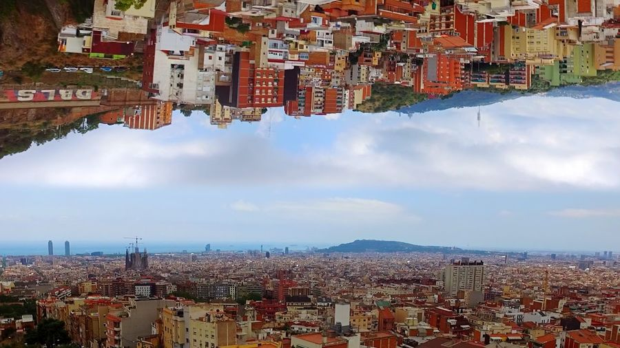 2 Barcelonas Tibidabo Barcelona 2 Worlds Met After Effects Building Exterior Architecture City Built Structure Building Sky Cityscape Residential District Day Community Settlement Cloud - Sky