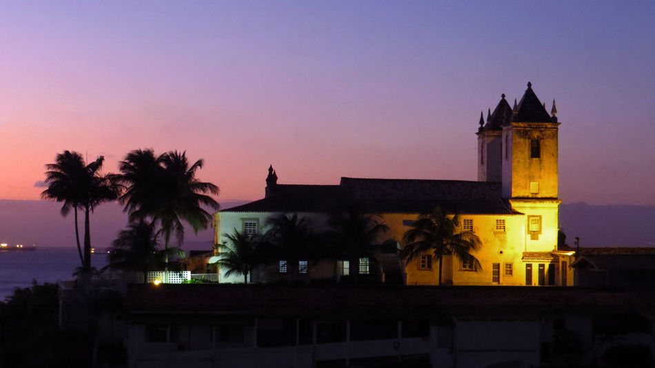 Faith Architecture Building Building Exterior Built Structure Colonization Dusk Illuminated Nature Night Nightfall No People Outdoors Palm Tree Plant Silhouette Sky Sunset The Past Tower Travel Destinations Tree Tropical Climate