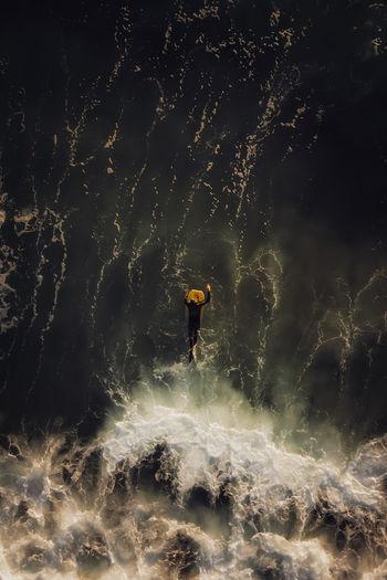 Bodyboard in the ocean