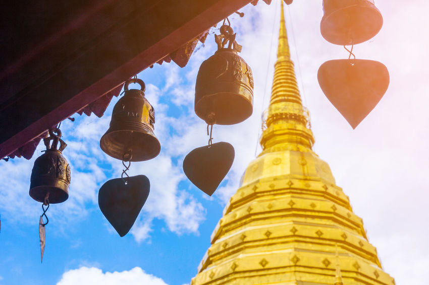Bell Chiang Mai | Thailand Pagoda Pray Stupa Thailand Ancient Architecture Buddhism Building Exterior Built Structure Culture Cultures Gold Gold Colored Hanging Low Angle View Outdoors Pagoda Place Of Worship Religion Sky Spirituality Temple Travel Destinations