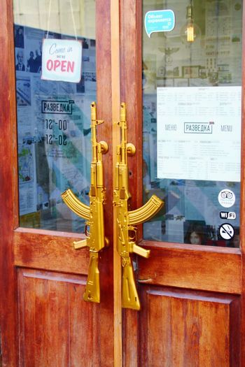 Door Text Communication Wood - Material No People Day Outdoors Architecture Submachinegun Submachine Gun Submachine-gun Door Handles Restaurant Moscow Russia