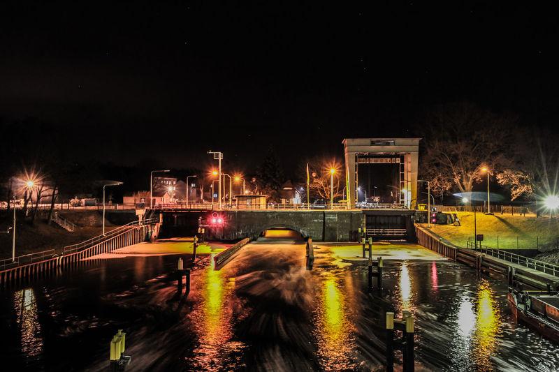 Wernsdorfer Scheluse Brandenburg Canal Canon Dark Germany Glowing Illuminated Kanal Langzeitbelichtung Nachts Nature Night No People Oder Spree Kanal Outdoors Reflection Sky Water Wernsdorf