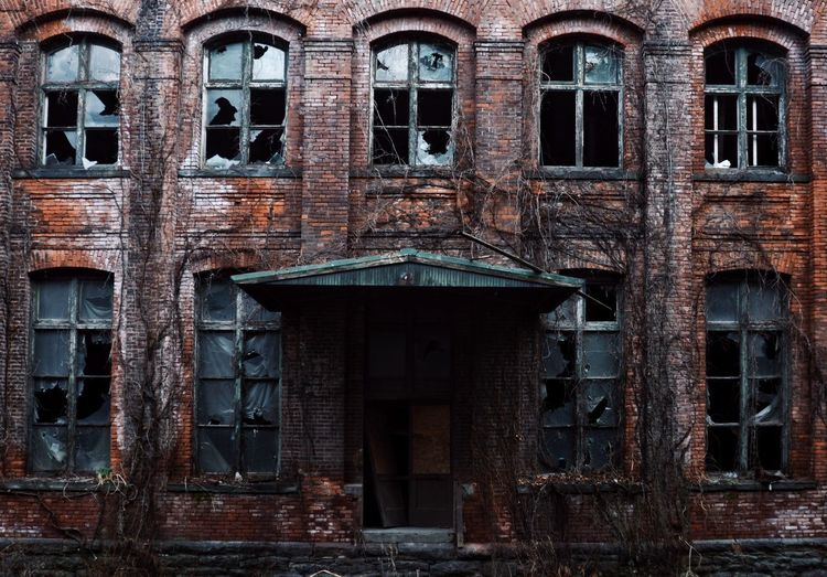 House on the Borderlands Abandoned Brick Wall Brick Building Light And Shadow Shadow Play Haunted House Scary Ruins Full Frame Window Backgrounds Door Architecture Building Exterior Built Structure