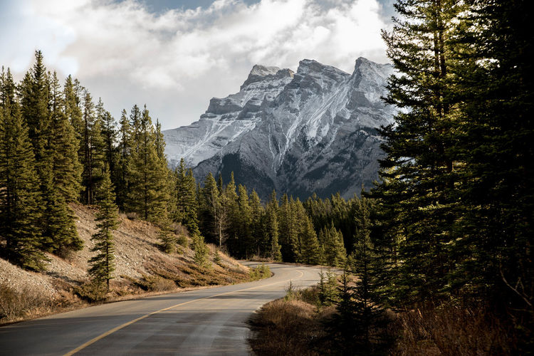 Banff National Park  Driving Mountain View Nature Photography Trees Beauty In Nature Forest Hiway Lake Minnewanka Landscape Mountain Mountain Road Mountains Mountains And Sky Nature Nature Lover Outdoor Outdoors Rocky Mountains Scenics Trees And Sky Two Jack Lake Be. Ready.