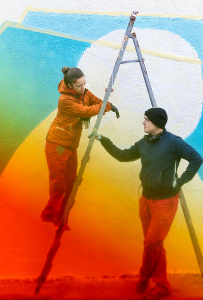 Graffiti Graffiti Wall Graffiti Artist Colors Colours Color Gradient Gradient Ladder Step Ladder Overalls Overall Women People Real People Working Full Length Teamwork Men Standing Occupation Togetherness Friend Wearing Worker