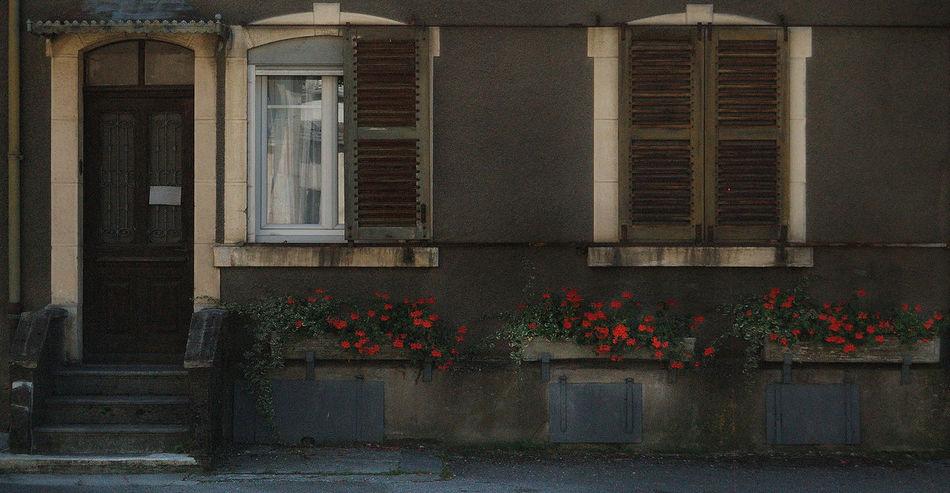 Architecture Architecture Rurale Building Exterior Built Structure Day Es Façade Architecturale Fenêtre Fleurs Flower Igersdoubs Jardinière No People Outdoors Red Rouges Volets Window