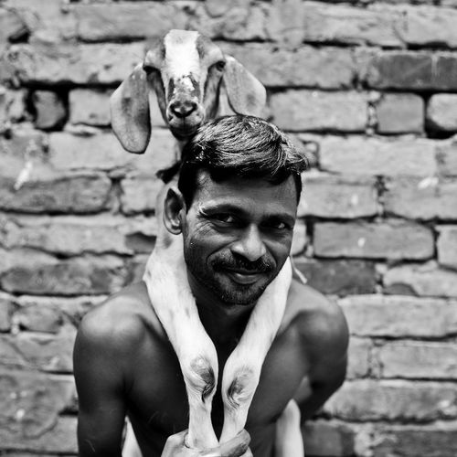 A man and his domestic goat. The Portraitist - 2014 EyeEm Awards Bangladesh Portrait B&w B&W Portrait