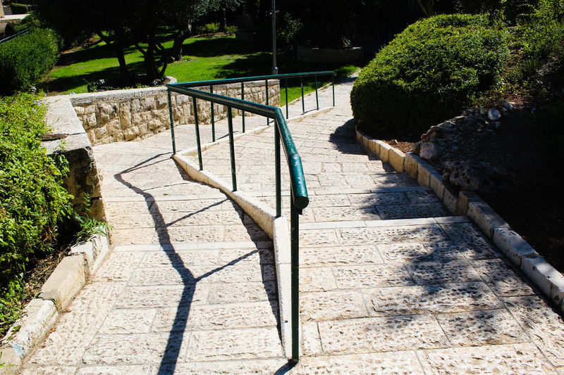 High angle view of footpath by railing in park
