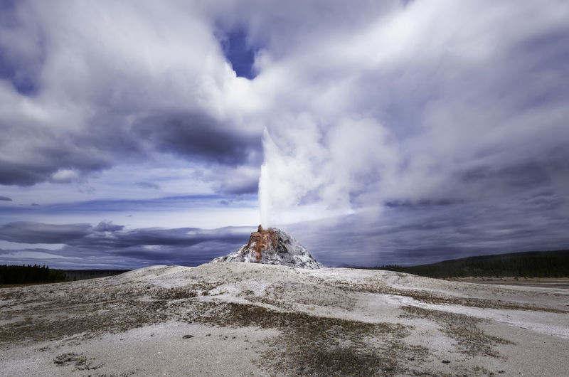 Yellowstone National Park has thousands of geysers. Yellowstone National Park Power In Nature Scenics - Nature Beauty In Nature Nature No People Outdoors Geysers Steam Water Landscape Landscape_photography Sky Clouds Nature Nature Photography National Park Outdoor Photography Cloud - Sky Environment