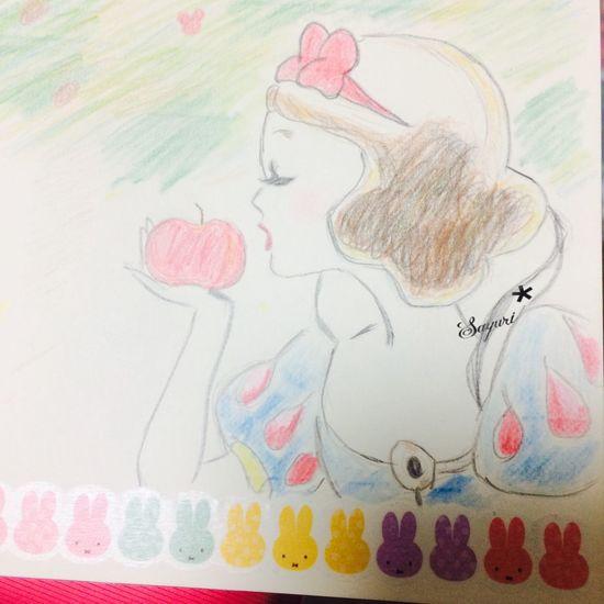 snow white Pink New Cute Disney Snowwhite Colored Pencil Love