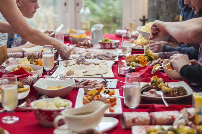 Family having food at table