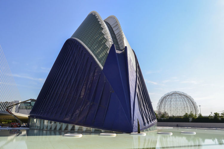 Architecture Building Building Exterior Built Structure City Connection Day Engineering Famous Place Glass Glass - Material International Landmark Low Angle View Modern Oceanographic Office Building Outdoors Skyscraper Tall - High Tower Valencia, Spain