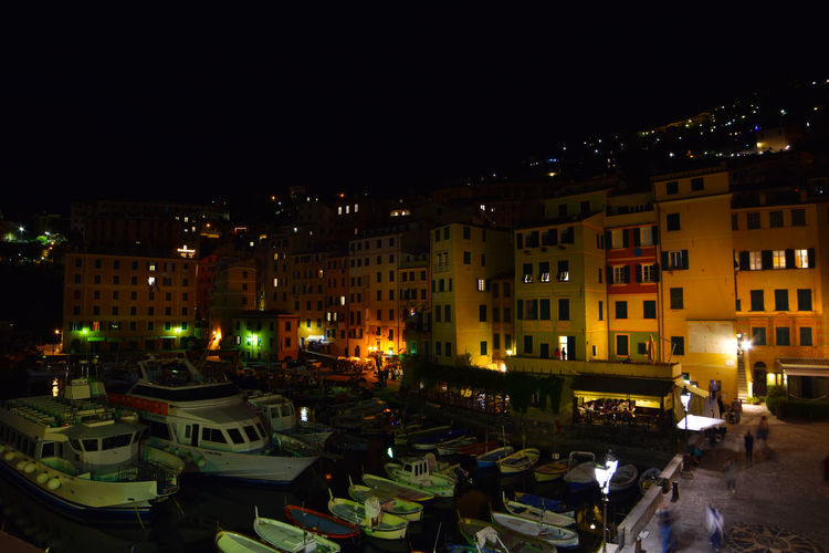 Panoramic view of illuminated buildings in city at night
