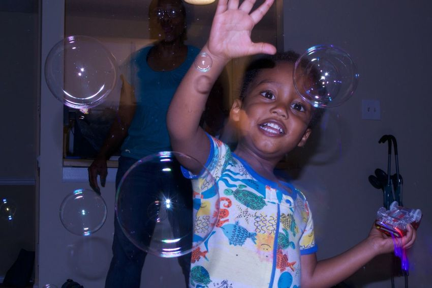 Zaheer playing with bubbles in North Carolina. 2017 ArtWork Baby Bubbles Fun New Nikon Bubble Wand Child Childhood Flash Indoors  One Person People Photography Real People Toddler  Vacation