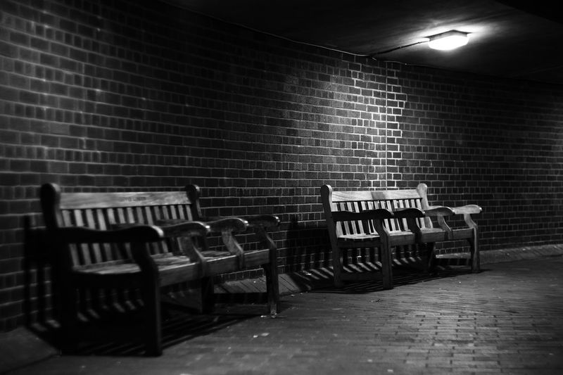 Seat Absence Lighting Equipment Wall Illuminated Empty Wall - Building Feature Brick In A Row Brick Wall Light Electric Lamp Monochrome Blackandwhite Bench Two 17.62°