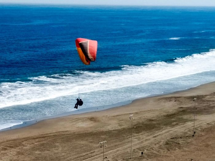 Skydive Sea Sport Water Beach Extreme Sports Land Aquatic Sport Motion Real People Leisure Activity Scenics - Nature Adventure Nature Beauty In Nature Surfing Lifestyles Exhilaration Outdoors People Paragliding