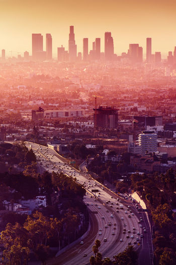 California dreaming - Los Angeles hot sunrise California City Cityscape Downtown Hot Hot Sunset Must See Palm Tree Postcard Sunlight USA United Sates, America City Downtown Los Angeles Fog Peaceful Pollution Postcardplaces Sky Skyscraper Smog Sunset Warm