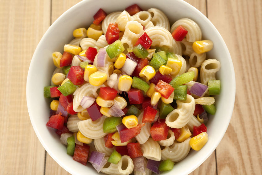 Summer Macaroni Salad bowl. Natural Light Salad Close-up Corn Grain Food Food And Drink Freshness Green Peppers Healthy Eating Macaroni Pasta Macaroni Salad  No People Ready-to-eat Red Peppers Studio Photography Summer Salad Wooden Background