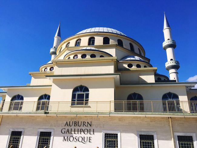 The Auburn Gallipoli Mosque is an Ottoman-style mosque in Auburn, a suburb of Sydney Mosque Blue Sky Architecture Built Structure Building Exterior Low Angle View No People Outdoors Blue Place Of Worship Day Clear Sky City