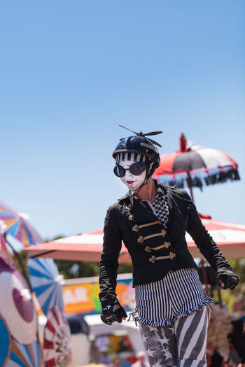 Costa Mesa, CA, USA - July 16, 2016: Dragon Knights steampunk stilt walkers perform at the Orange County Fair in Costa Mesa, CA on July 16, 2016. Editorial use only. Adult Adults Only Day Dragon Knights Entertainer OC Fair Orange County Fair Outdoors People Performance Performance Art Performance Artists Performer  Stiltwalker