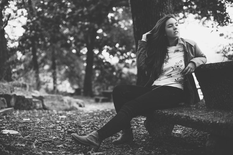 Beautiful Woman Black And White Casual Clothing Fashion Full Length One Person Sitting Tree Young Adult Young Women