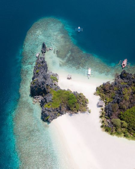 Welcome to star beach, El nido Sea Water Nature Beauty In Nature Scenics - Nature High Angle View Land Plant Sport Travel UnderSea Beach Aerial View People