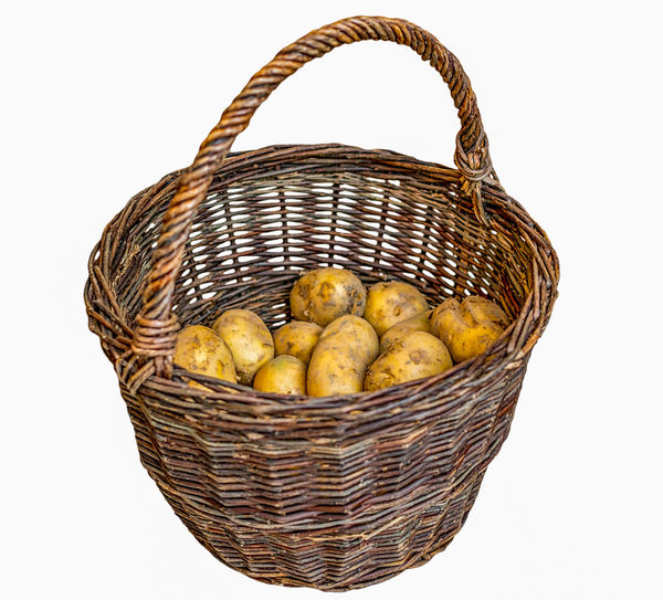 Harvested potatoes in an old wicker basket Old Wicker Wicker Basket Basket Potatoes Cut Out Day Food Food And Drink Freshness Fruit Healthy Eating No People Outdoors Picnic Picnic Basket Potatoes Potatoes Basket Potatoes Bulbs Shopping Basket Studio Shot Whicker White Background Wicker Wicker Baskets Wicker Basket Yellow