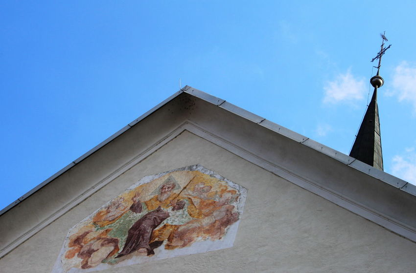 Church Slovenia Architecture Blue Built Structure Day Mural Outdoors Radovljica Religion September 2018