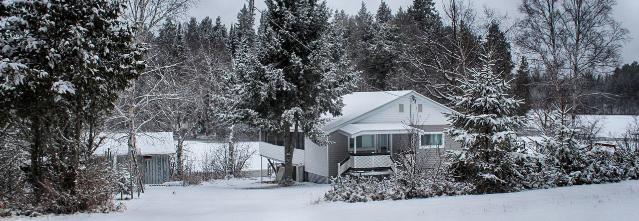 winter, snow, cold temperature, tree, built structure, architecture, building exterior, bare tree, no people, house, nature, outdoors, tranquility, day, beauty in nature, scenics, sky