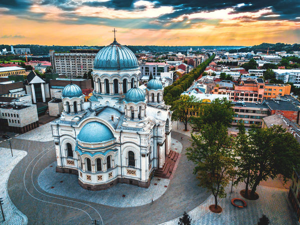 Lietuva Lithuania Architecture Belief Building Building Exterior Built Structure City Cityscape Cloud - Sky Cupola Dome High Angle View Kaunas Nature No People Outdoors Place Of Worship Religion Residential District Sky Soboras Spirituality TOWNSCAPE Travel Destinations