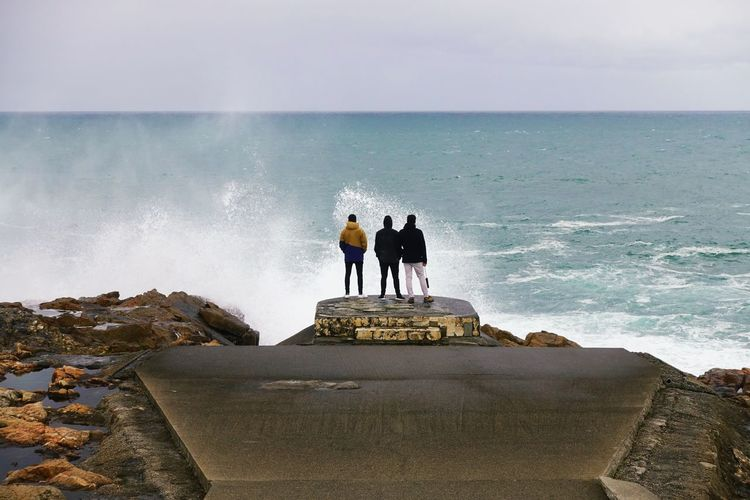 A Coruña Galicia Galicia, Spain Atlantic Ocean Tourism Travel Destinations SPAIN Stormy Weather Storm Top View Wave Water Sea Beach Togetherness Friendship Silhouette Men Full Length Sky Rushing Shore Crashing Ocean Groyne Rocky Coastline Friend Rock Formation Focus On The Story
