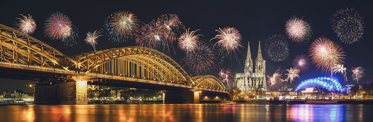 Cologne Cathedral and Hohenzollern Bridge with Fireworks on New Year day, Cologne, Germany Architecture Cathedral Celebration Christmas Cityscape Cologne Cologne , Köln,  European  Fireworks Kölner Lichter Light New Year Panorama Rhine Skyline Sylvester Bridge Celebrate Colorful Europe Festival Firework Germany Hohenzollernbrücke Pyrotechnics