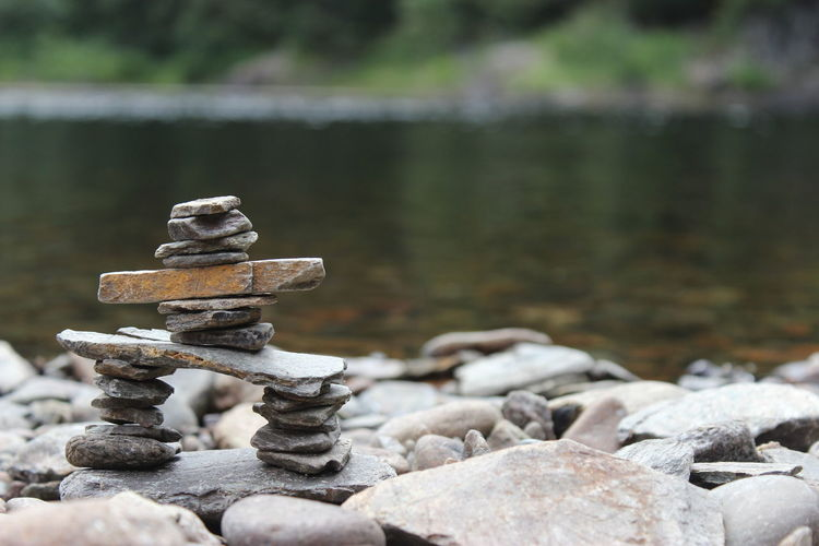 Close-up of pebble stack