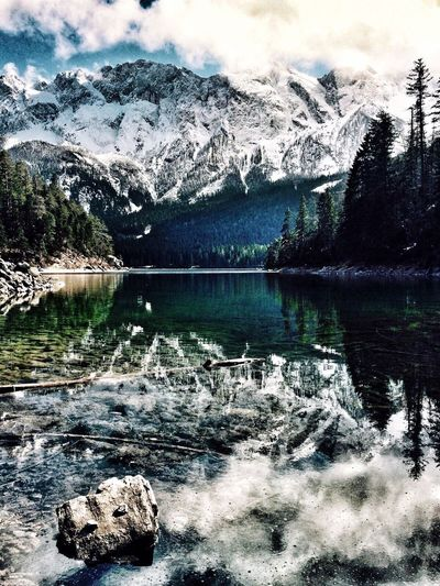 Eibsee Reflection Water Nature Lake Mountain Beauty In Nature Scenics Outdoors Day Tranquil Scene Snow Mountain Range No People Cold Temperature Sky