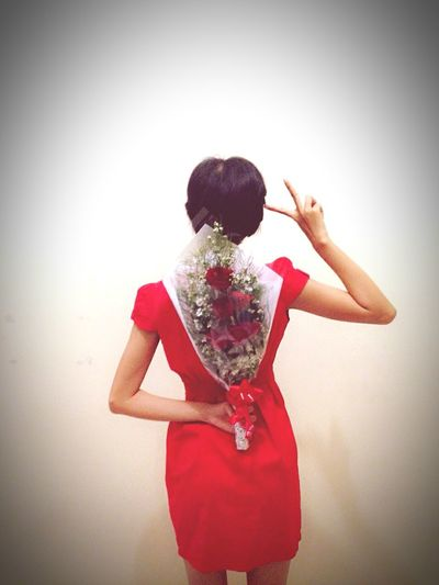 Red dress and red rose behind the girl. Perfect romanticism!! First Eyeem Photo