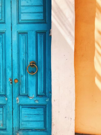 Door Closed Front Door House Entrance Wood - Material Blue Door Handle Outdoors No People Doorway Day Built Structure Building Exterior Architecture Entry Close-up Colour Your Horizn