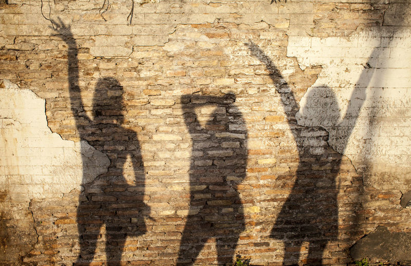 Shadow of man on brick wall