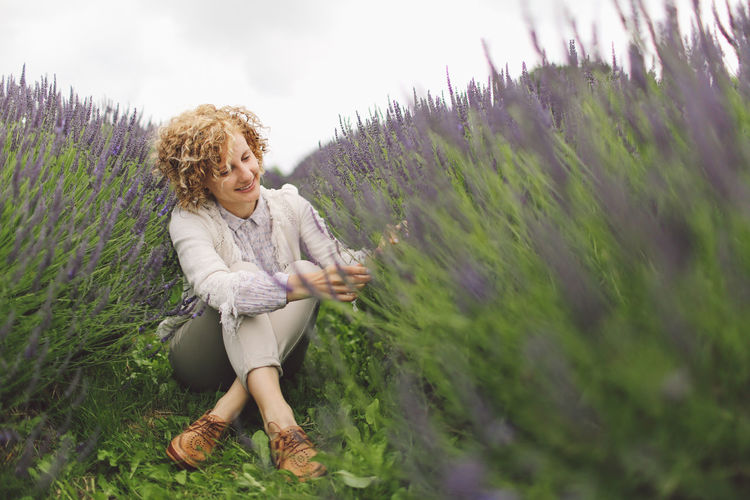 Beauty In Nature Blone  Casual Clothing Curly Hair Day Field Flowers Focus On Foreground Full Length Girl Grass Growth Landscape Lavanda Lavander Lavander Flowers Lavanderfields Leisure Activity Lifestyles Nature Outdoors Plant Portrait Sky Tranquility