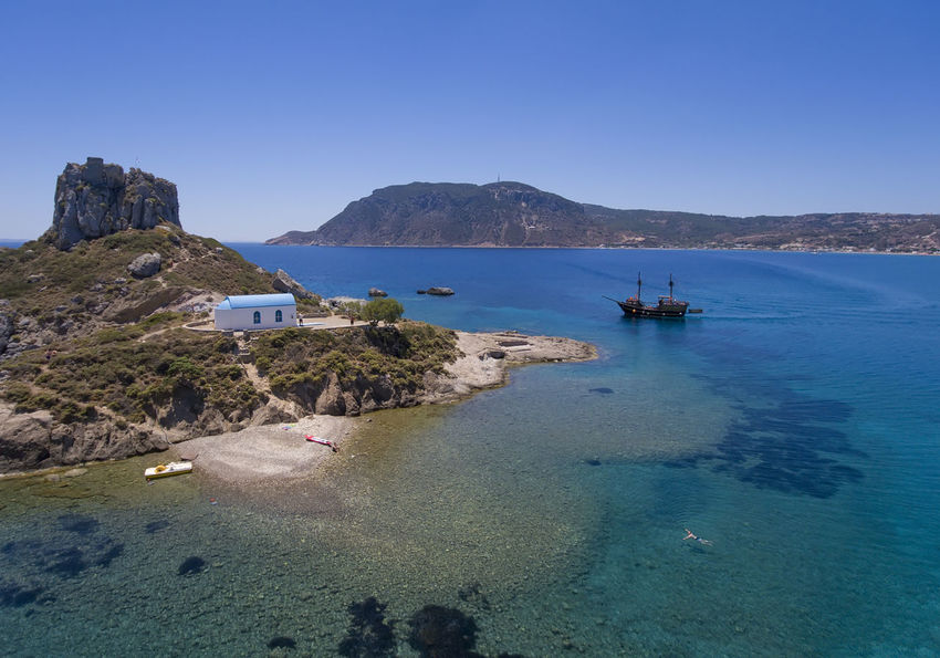 Aerial View Arria,greece Clear Sky Dronephotography Island, Kefalos Kos Nature Sea Ship Water